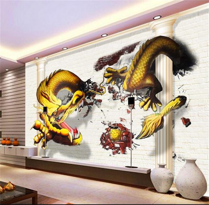 Popular 3d paper dragon buy cheap 3d paper dragon lots for Dragon mural for wall