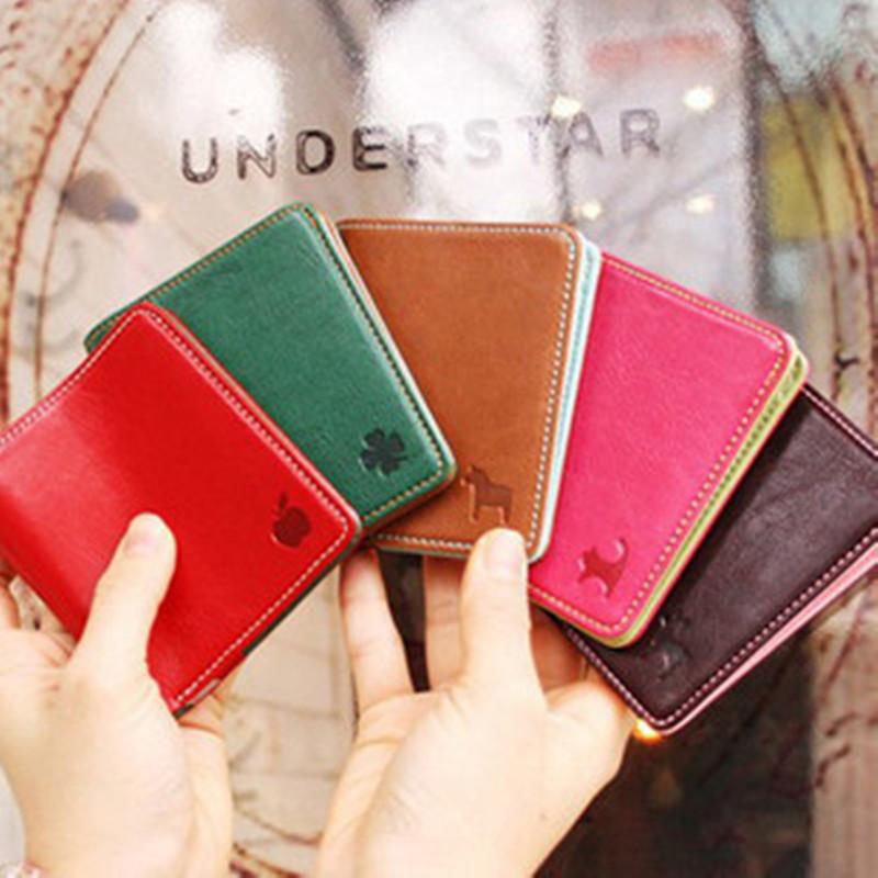 Cute women credit card holders PU leather ID card wallets for men boy korean style fold