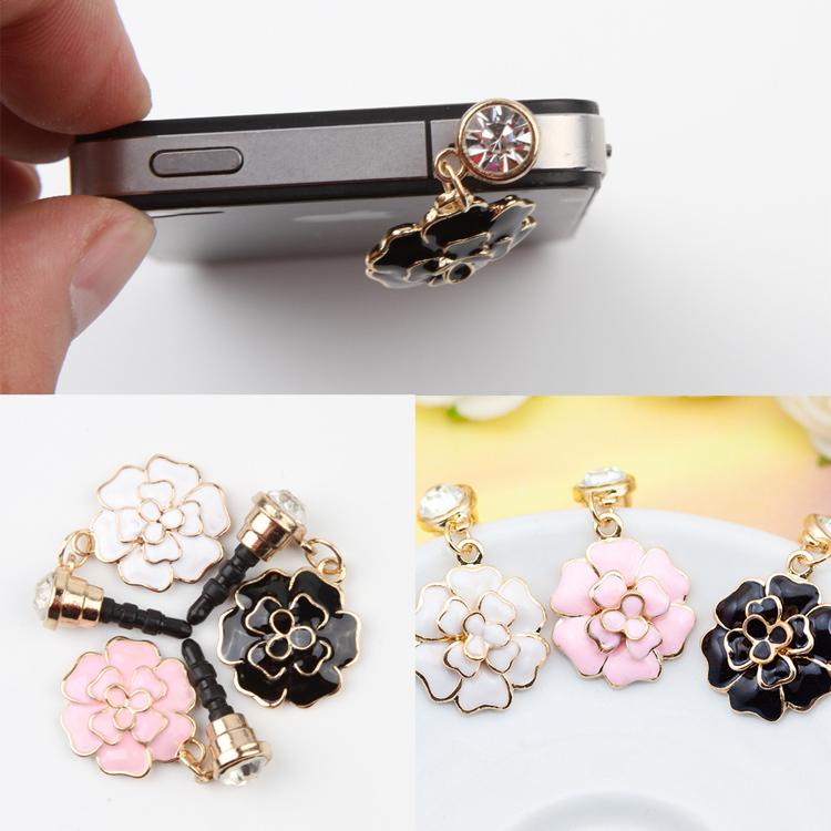 Camellia Shaped Mobile Phone Dust Plug 3.5mm Universal Headphone Plug Dust Plug 3 Colors Drop Shipping PA-0030(China (Mainland))