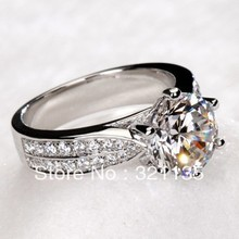 Luxury Exaggerated Brand of 18k Gold 2.0 CT Lab Grown Moissanite Diamond Ring for Women with Real small Diamonds Free Shipping(China (Mainland))
