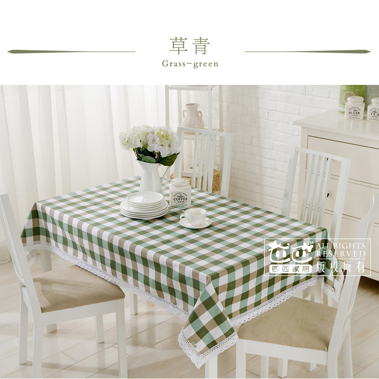 Simple plaid cotton lace table cloth coffee table cover custom retangle square tablecloth(China (Mainland))