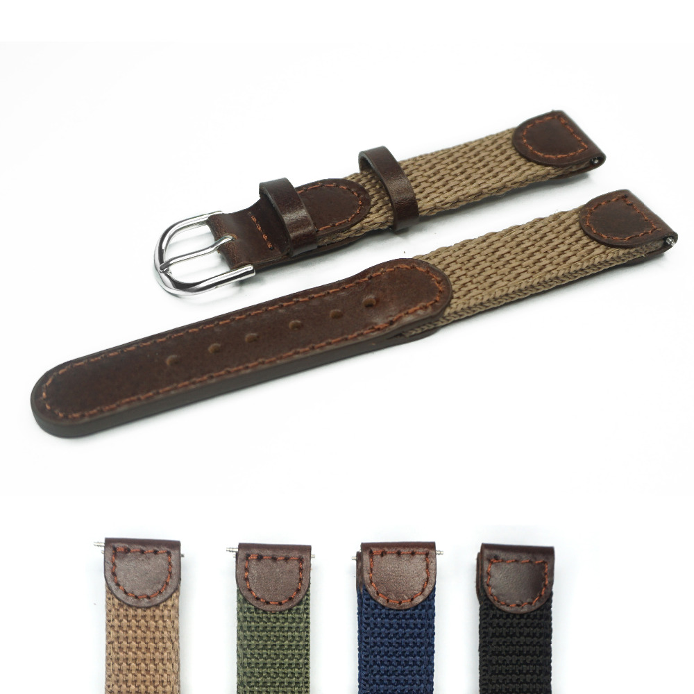 16mm 18mm 20mm 22mm Italian Oil Genuine Leather Joint Nylon Watch Band Strap Men Watchband Stianless Steel Buckle for Watches(China (Mainland))