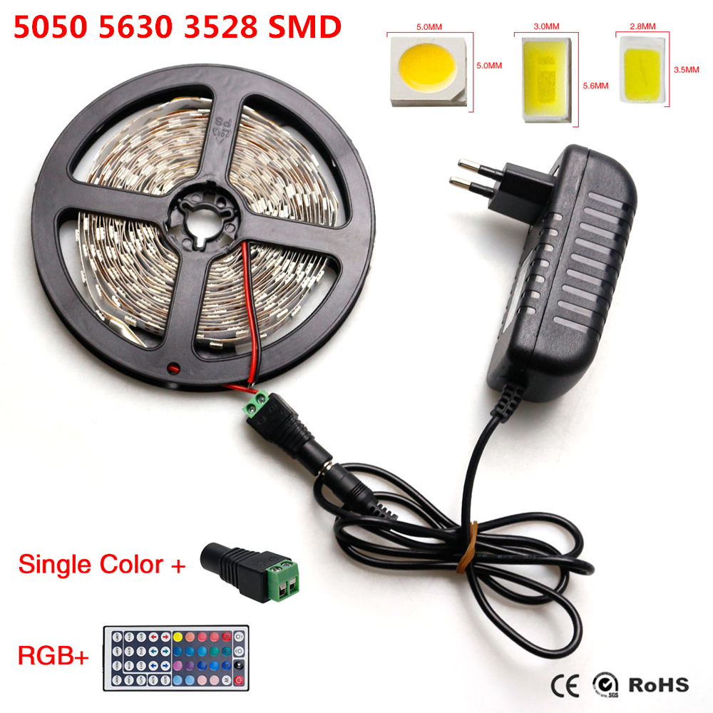 IP20 RGB LED Strip Light 5630 3528 5050 SMD Fita De Led Tiras String +44Keys Remote Controller+ EU/US Plug 12V 2A Power Adapter(China (Mainland))