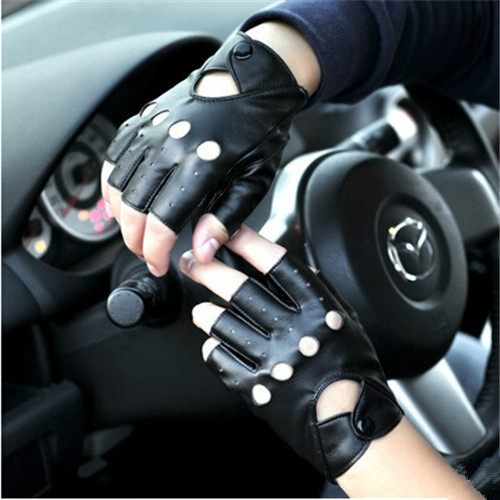 Hot!!! Driving PU Leather Fingerless Gloves For Women Or Men Black Summer Style(China (Mainland))