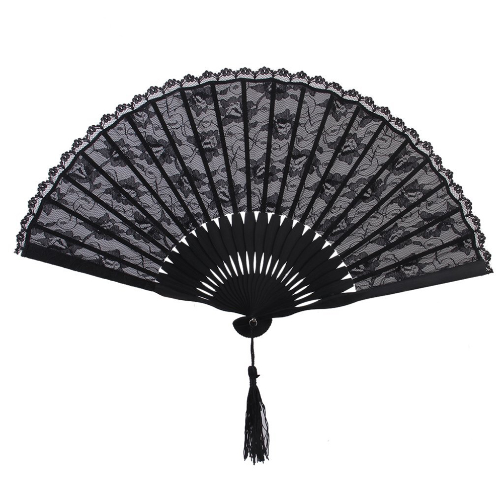 Spanish Victorian Hand Fan for Wedding Party Favor Fancy Dress Black Japanese Folding Pocket Fan(China (Mainland))
