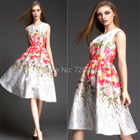 2015 Spring Fashion Dress Summer DRESS Long  Elegant 3D Flower Print Sleeveless Vintage New Women DRESSES O-Neck