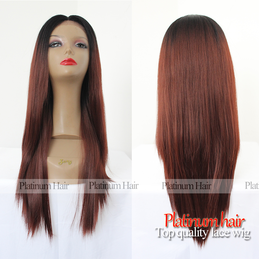 Hot Sale Ombre Color Silky Straight Synthetic Wigs Heat Resistant Two Tone Color Wine Red Synthetic Lace Front Wig Free Shipping(China (Mainland))