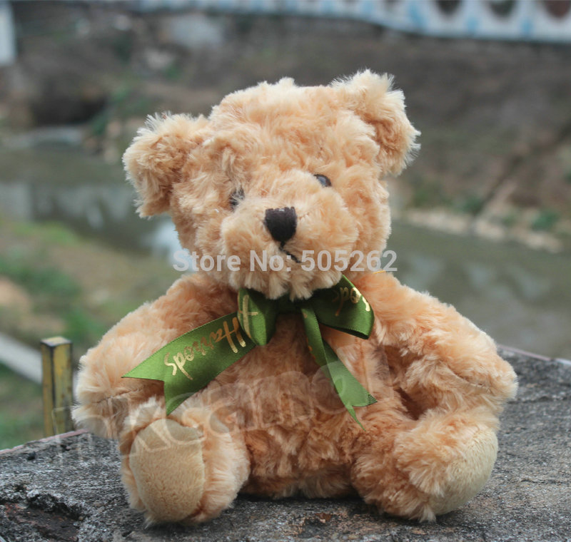 lovely plush green scarf yellow teddy bear stuffed animal soft toys 20 cm Valentine's gift child gifts(China (Mainland))