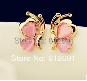 Hot sale Butterfly ear clips no pierced ear clip charms opal ear cuff earring girl jewelryearring for women LM-C288(China (Mainland))