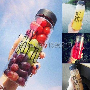 Sports water bottle my bottle 500 ml hiking camping lemon juice drinkware cup saucer mug drink mason jar water bottles with bag(China (Mainland))
