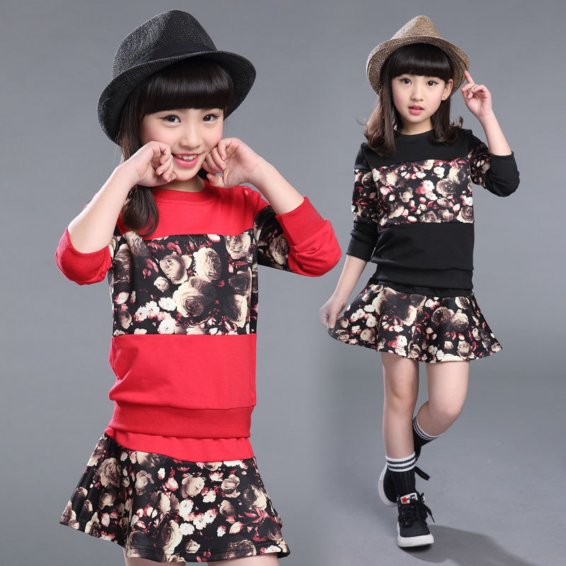 New Branded Children Clothing Sets Spring Fashion Long-sleeve Print Outwear Pullovers+Skirt Suits Casual Cotton Kids Clothes Set<br><br>Aliexpress