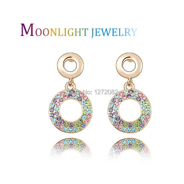 Gold Plated titanium Au18k stria Crystal Stud Earrings retail Women Earings balls wholesale Rainbow Pop Ear Stud jewelry(China (Mainland))