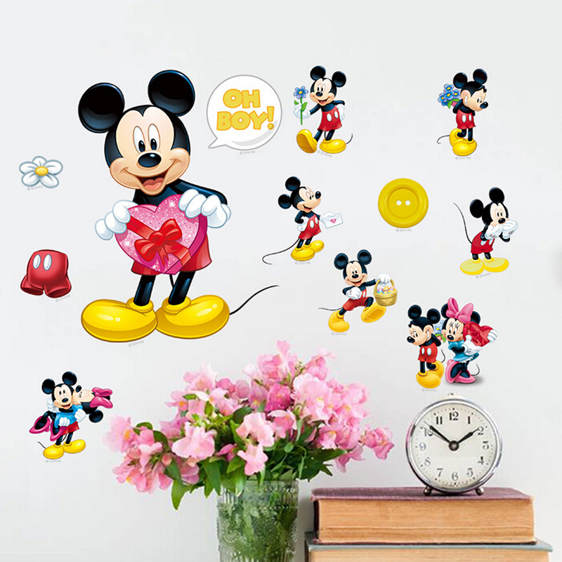 Free shipping! Self-adhesive removable home decor3d mickey mouse wall stickers diy pvc children wall decals(China (Mainland))