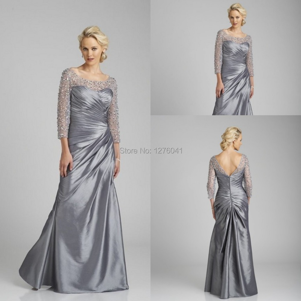 Sexy silver satin mother of the bride dresses plus size for Mothers dresses for wedding plus size