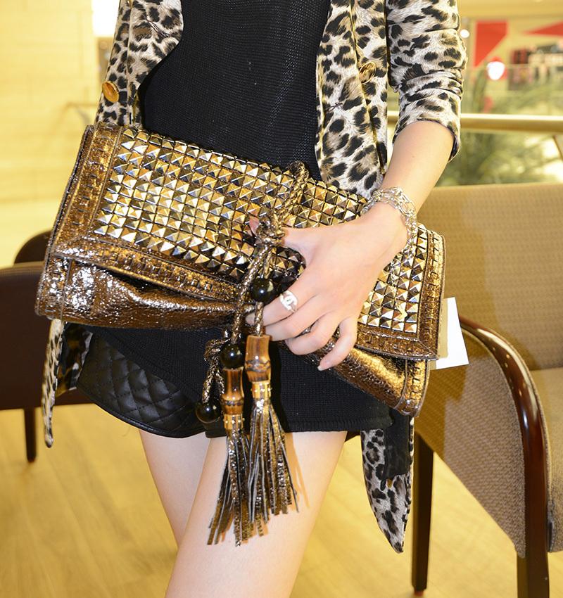 pu leather women rivet vintage tassel day clutch bag bronze color envelope clutch bag small shoulder messenger bag free shipping<br><br>Aliexpress