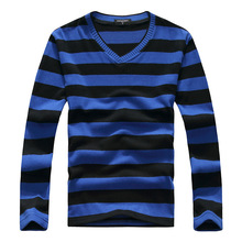 2015 New Arrive Casual Stripe Sweater Men Pullovers Brand Winter Knitting Long Sleeve V-Neck Slim Knitwear Sweaters Size M-XXL(China (Mainland))