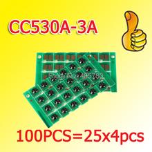wholesale 100pcs=25x4pcs 530A chip compatible for HP Color LaserJet 2020/2025/CM2320 freeshipping+