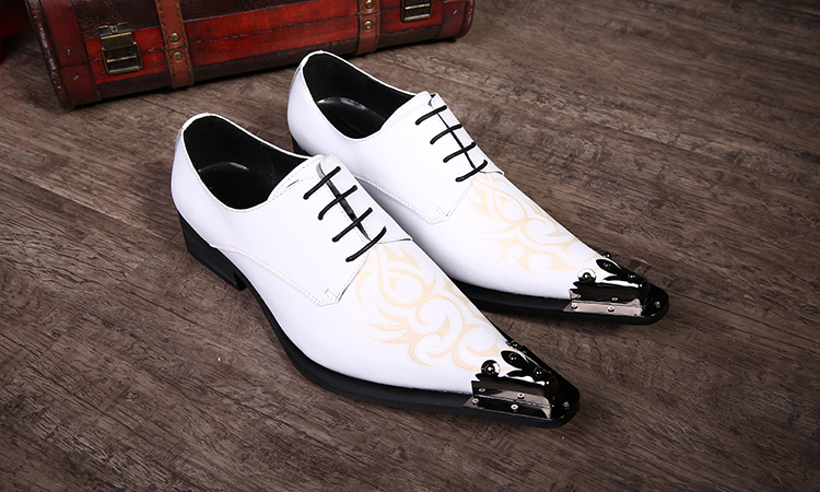 2016 New Men White Print Lacing Dress Shoes Genuine Leather Fashion Metal Pointed Toe Oxford High Heels - trend Tian's store