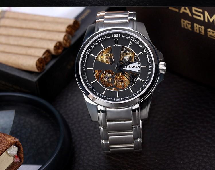 EASMAN Мужские Часы Скелет Рома Классический Автомат автоподзаводом Часы Для Мужчин Большой Дейл Часы Роскошные Наручные Часы