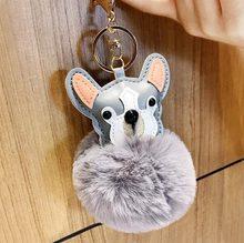 Bonito dos desenhos animados do filhote de cachorro chaveiros fofo do falso coelho bola pom pom pom chaveiro bolsa cabide cão peludo chaveiro titular da chave do carro(China)