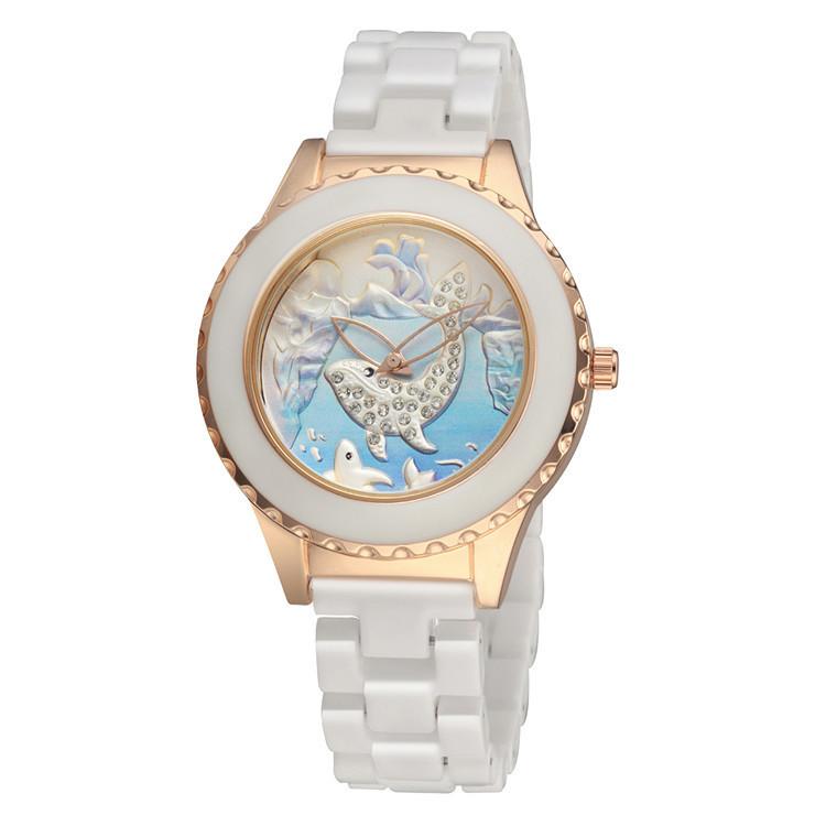 Sea Element Dolphins Women Elegant Ceramic Watches Quartz Crystals Dress Clock Embossed Iceberg 2 Hands Analog Relojes NW4359<br><br>Aliexpress