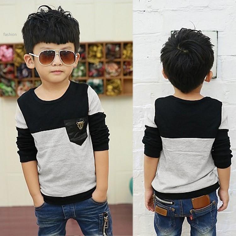 Korean Fashion Boys T Shirt Pure Cotton Pocket Best Quality Children Long Sleeve Tshirt Kids T-Shirts Baby Topwear Promotion 53(China (Mainland))