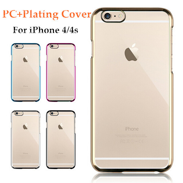 Luxury PC+Plating Cover For iPhone 4 4s Case Double Protection Phone Bags Cases Covers For iPhone4 For iPhone4s(China (Mainland))