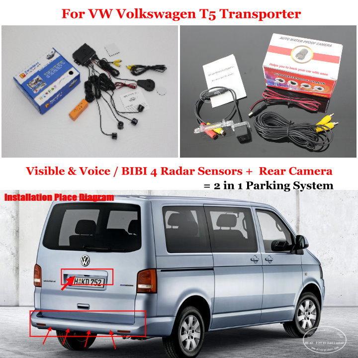 Car Parking Sensors + Rear View Camera = 2 in 1 Visible &amp; Vioce / BIBI Alarm Parking System For VW Volkswagen T5 Transporter<br><br>Aliexpress