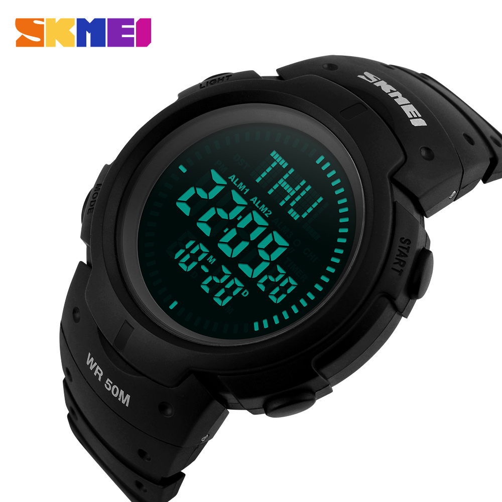 SKMEI Brand Men Sports Watches 5ATM Water Proof Digital Outdoor Military Watch EL Backlight Compass Countdown Wristwatches(China (Mainland))