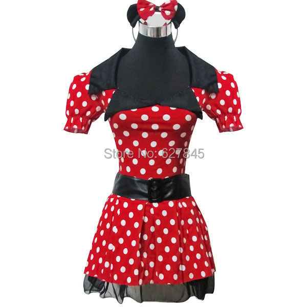 Red With White Polka Dot Minnie Mouse Dress Sexy Fantasy Uniforms Temptation Halloween Carnival Party Cosplay Costumes(China (Mainland))
