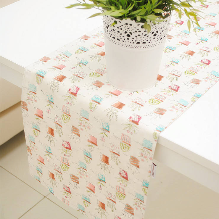 Cute Style Cotton+Linen Cartoon Potted Table Runner for Dining Table/Hotel Double Sides 30*180cm 30* 210cm Accept Customized(China (Mainland))