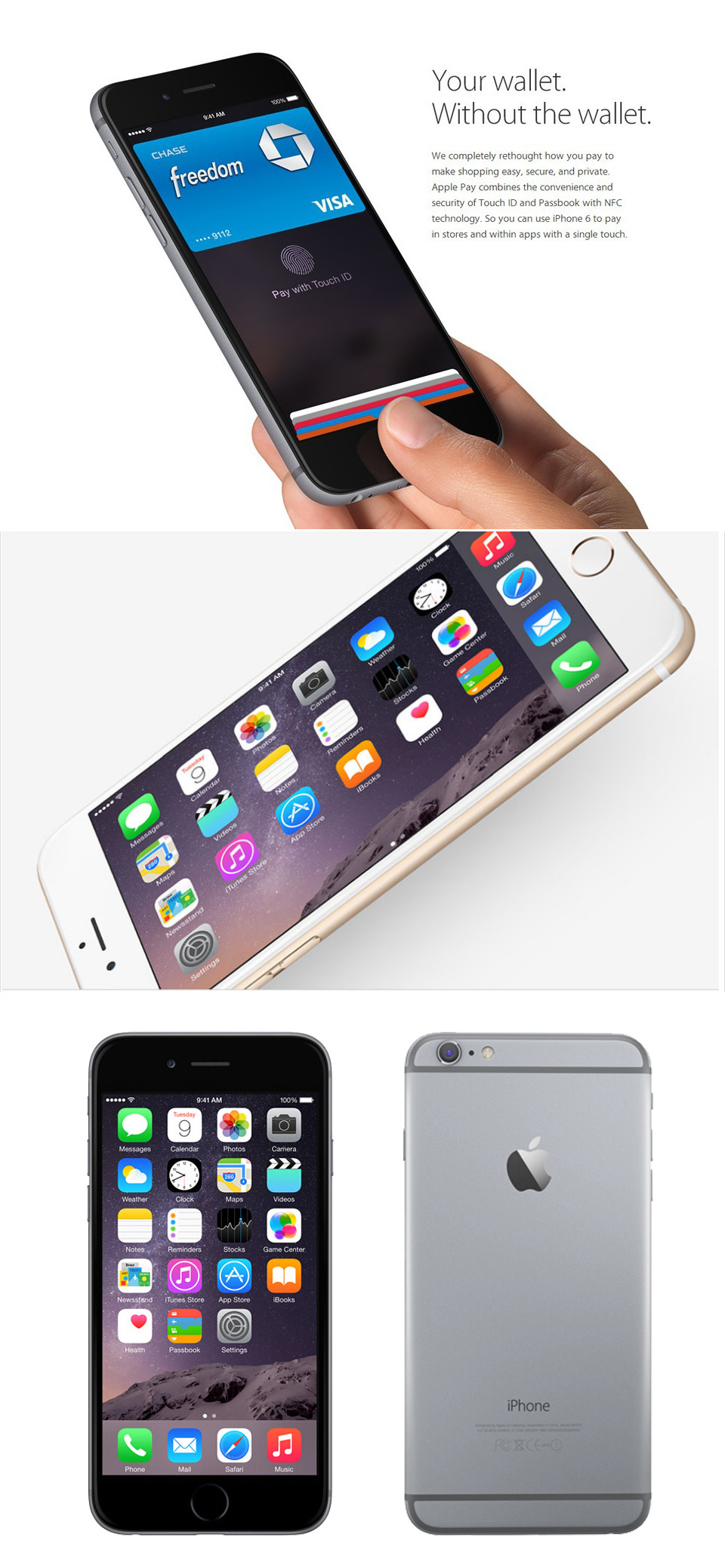 Unlocked Original Apple iPhone 6 16/64/128GB ROM 1GB RAM 4.7 screen ios9 phone 8MP/Pixel LTE 1810mAh iPhone6 Used Mobile Phone