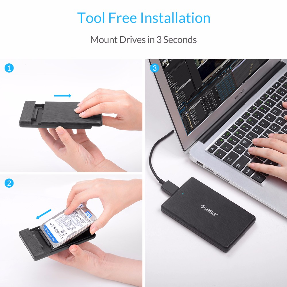 2.5 Inch HDD Case USB3.0 Micro B External Hard Drive Disk Enclosure ORICO High-Speed Case for SSD Support UASP SATA III (2189U3)