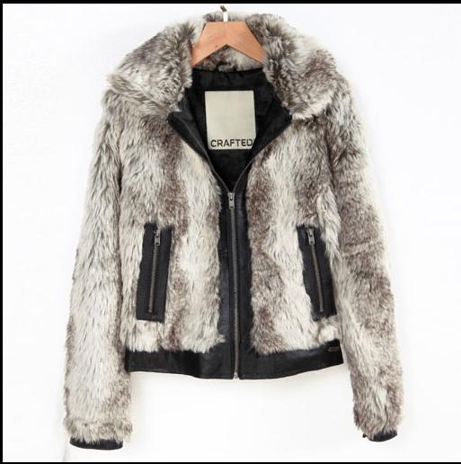 NEW! 2015 fall and winter clothes new high-quality Faux fur coat PU leather strips edge lady coat jacket(China (Mainland))