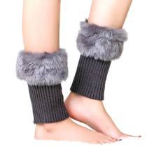 Sıcak Satış Moda Bayan Kış sıcak Örgü Kürk Trim Bacak Isıtıcıları Boot Çorap Manşetleri Toppers Kapak Tığ Çorap(China)