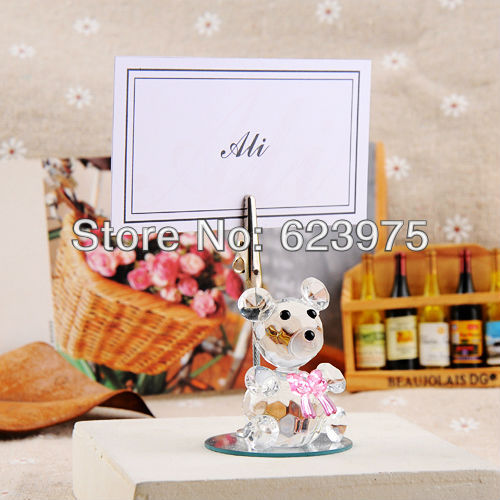 Wedding Favor Beauty Crystal Bear with Bow Place Card Holders (Set of 12 Pieces)(China (Mainland))