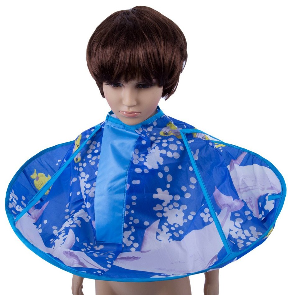 Blue apron quality - High Quality Foldable Kids Hair Cutting Cape Haircut Gown Hairdresser Apron Blue Waterproof Nylon Cloak Clothes