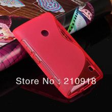Mini order 1pcs (4 color) S Line Wave Flexible TPU Soft Case Cover for Nokia Lumia 520 Case + Screen Film,FREE SHIPPING(China (Mainland))