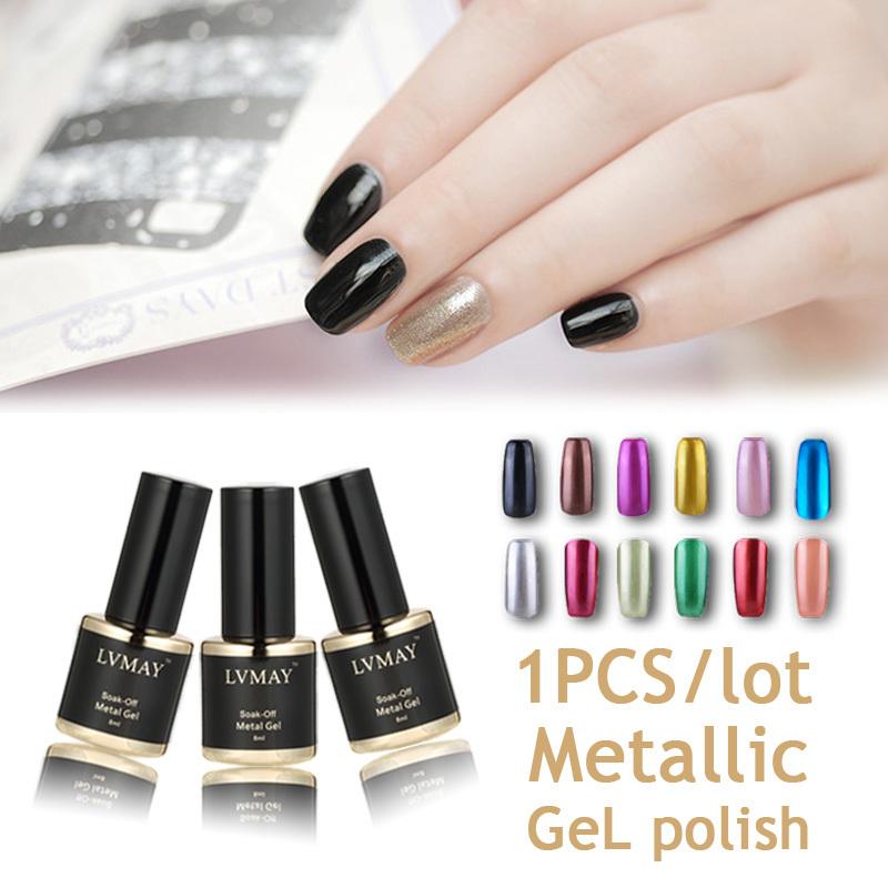1PCS Metallic Mirror Effect Gel soak off UV gel polish gelpolish 8ml 12 colors nail glue esmalte gel paint for nails for summer(China (Mainland))