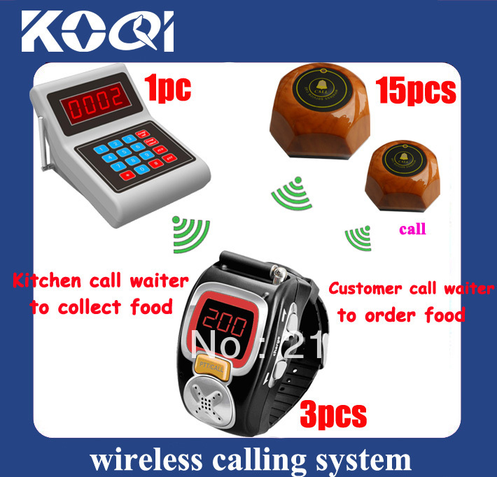 Effective service !!! Radio paging system for kitchen W 1 Numeric Keyboard and 3 wrist pagers and 15 transmitters(China (Mainland))