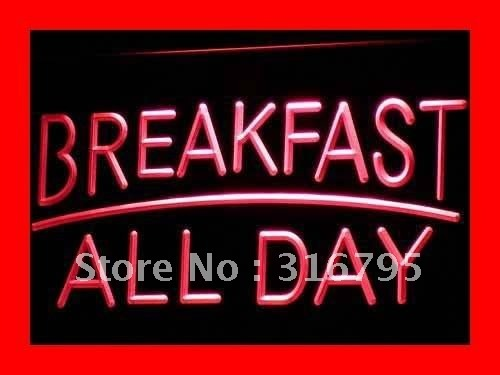 i311-r BREAKFAST ALL DAY OPEN Cafe Bar LED Neon Light Sign On/Off Switch 7 Colors