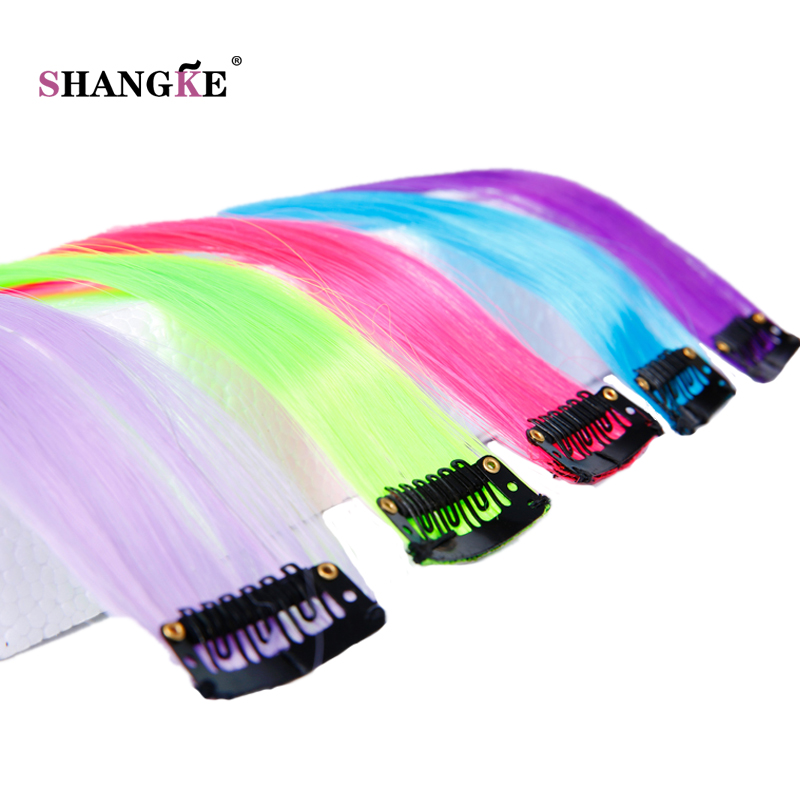 SHANGKE Long Colored 1 Clip In Hair Extensions Fake Hairpieces Heat Resistant Synthetic Fake Hair Extensions 1 Clip In Hairpiece(China (Mainland))