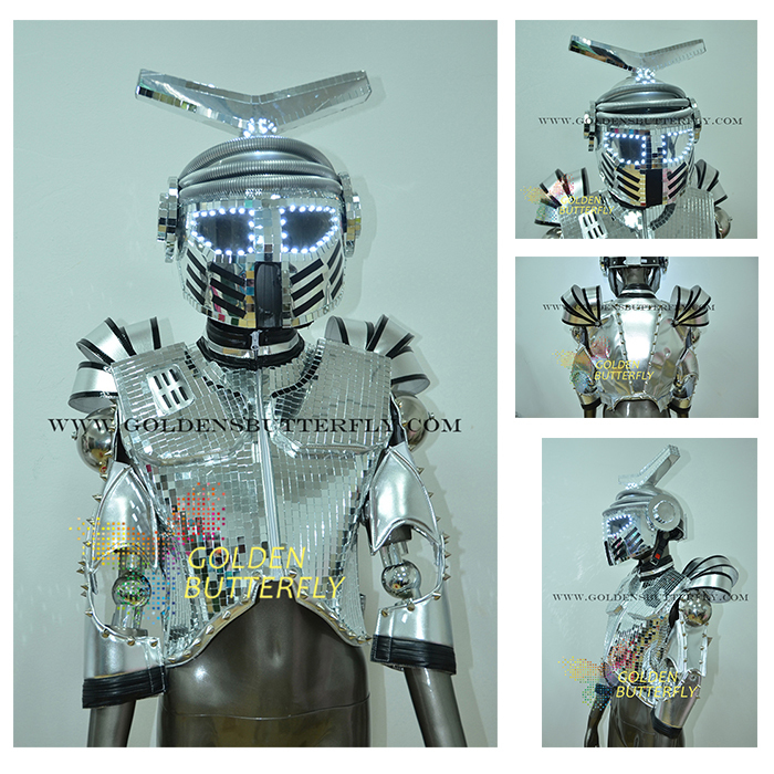 LED Robot Costume Luminous Suit LED Dance Men Show Halloween Mardi Gras Carnival science fiction movie Robot Light Costumes(China (Mainland))