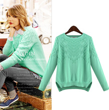 Fall 2015 New Plus Size Plump Women Sweaters and Pullovers Full Pure Color Kick Pleat Knitting Pullovers Crochet Sweaters(China (Mainland))