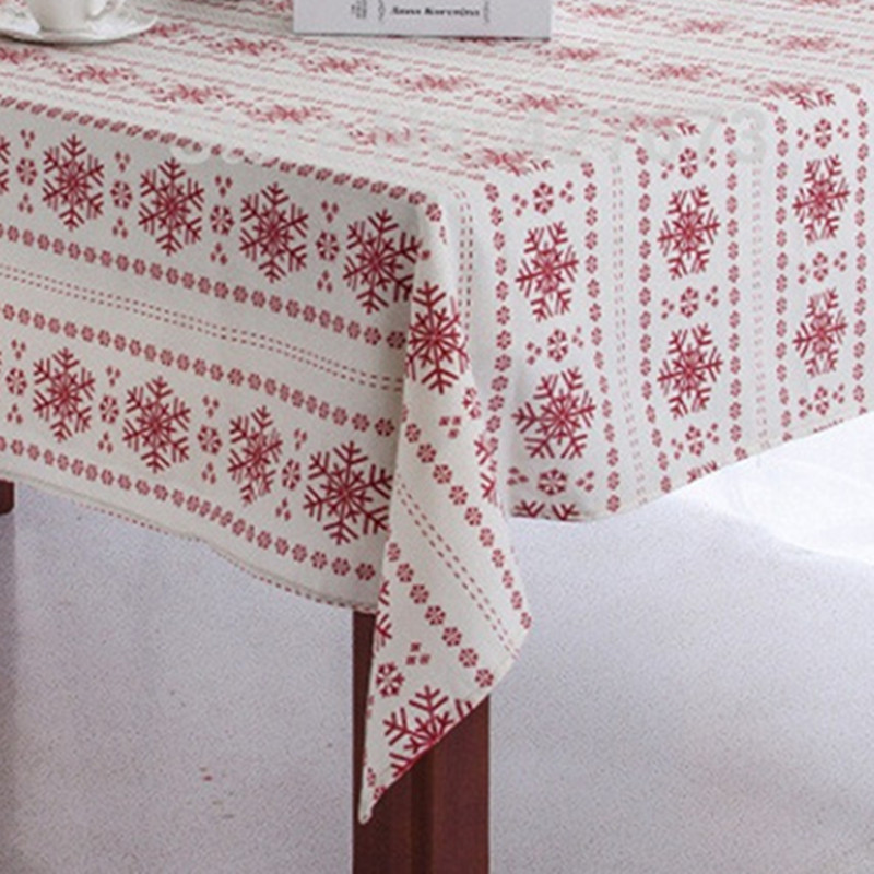 Christmas Tablecloth snowflake printed cotton linen Table Cloth Dust Covers home hotel party Decoration Supplies product red(China (Mainland))
