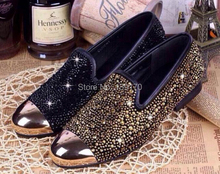 Gold Toe Brand Men Flats 2015 Spring Shoes Men Black Gold Rivets Men Casual Shoes Brand Loafers Comfort Driving Shoes Wholesale (China (Mainland))