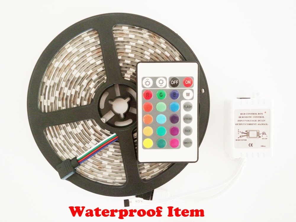 5M 3528 SMD RGB 300 LEDs IP Waterproof Flexible Strip Lighting12V+Receiver+Remote