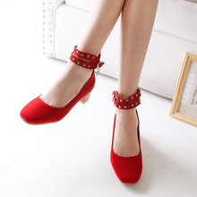 2016 Spring/Autumn plus size 30-52 women Ankle Strap shoes Sweet Buckle Strap ladies red wedding high heels zapatos mujer E1208