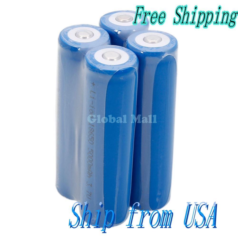 Ship From USA 4 Pcs Neutral 18650 3.7V-4.2V 5000mAh Rechargeable Lithium Battery Deep Blue 88012564(China (Mainland))