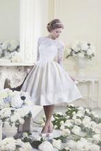 Vestido De Noiva Curto Ball Gown Short Wedding Dress Open Back Long Sleeve Wedding Dresses Knee Length Vestido de festa longo(China (Mainland))